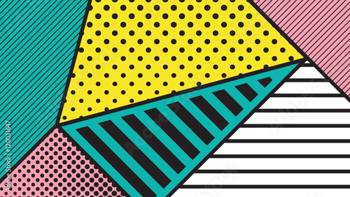 black and white pop art geometric pattern - 120031647