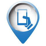 Map pin symbol with Smartphone  icon. Blue symbol on white backg