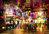 colorful painting of night street,illustration,cityscape