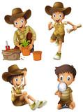 Boy doing different activities