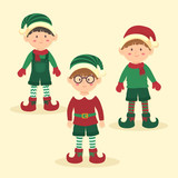 Christmas Elves Boy Character Set Cartoon Vector