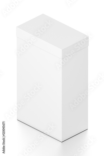 White tall vertical rectangle blank box with cover from isometric angle.