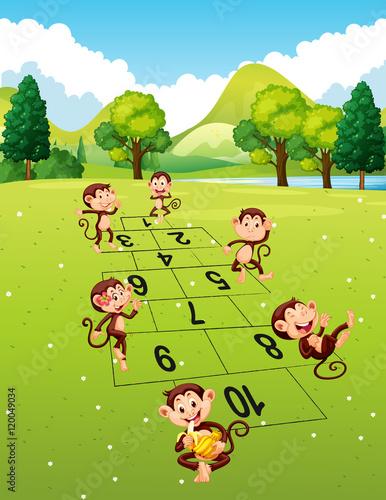 Fotobehang Zoo Monkeys playing hopscotch in park