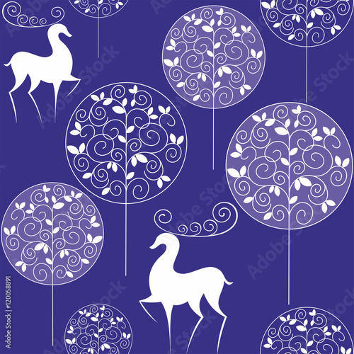Foto op Canvas Violet Christmas seamless pattern with the image of winter forest and deer in vintage style