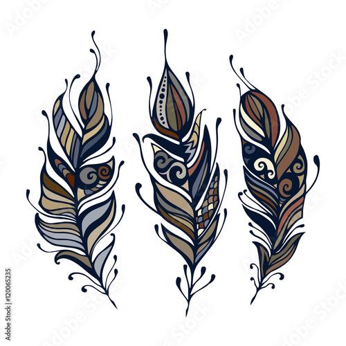 satz-gezeichnete-elemente-boho-art-hand-vektor-illustration-stammes-hippie-element