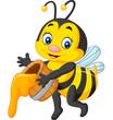 Cute bee holding honey - 120067050