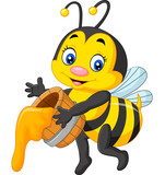 Fototapety Cute bee holding honey