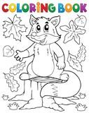 Coloring book cute fox theme 1