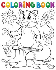Coloring book cute fox theme 1
