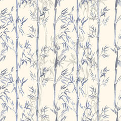 Hand-drawn watercolor seamless pattern with bamboo plant drawing. Repeated background with bamboo