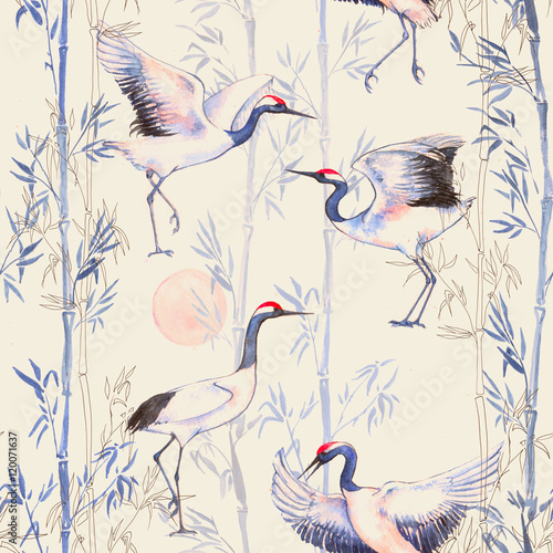Hand-drawn watercolor seamless pattern with white Japanese dancing cranes. Repeated background with delicate birds and bamboo - 120071637