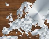 Mappa Europa in acciaio e legno