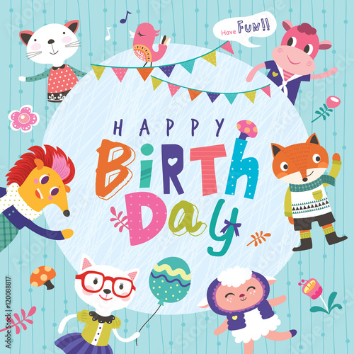 Fototapeta Birthday greeting card with cute cartoon animals