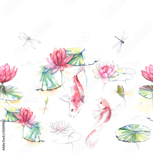 Hand-drawn watercolor seamless pattern in Japanese style. Repeated background with Koi carp fishes in the water with lotus flowers and leaves. Pattern for the textile and wallpapers - 120091607