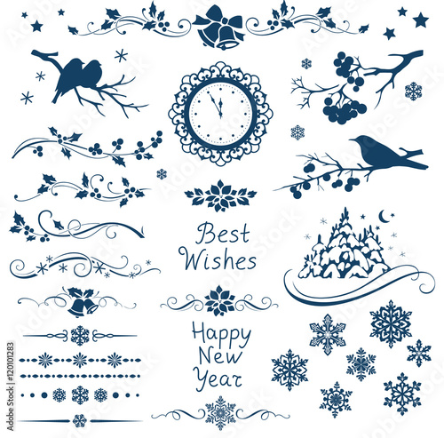 Vector set of New Year calligraphic elements and ornaments for page decor. Christmas decorations.  - 120101283