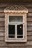 Russian window in carved wooden frame