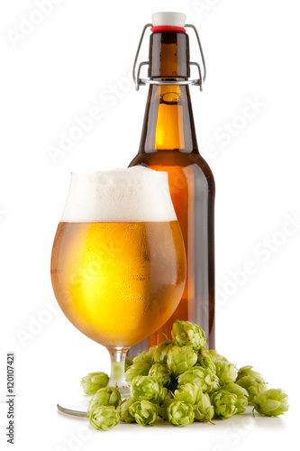 Beer glass on white background Poster