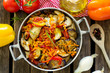 Постер, плакат: Stewed summer vegetables ratatouille style