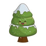 pine tree kawaii cartoon happy face decoration christmas symbol. vector illustration