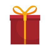 red gift box present with yellow ribbon. vector illustration