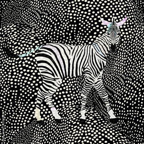 Cotton fabric Abstract draw  zebra in the savannah, fashion striped  polka dot print