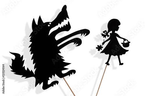Little Red Riding Hood and Big Bad Wolf shadow puppets Poster