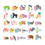 Fototapety Cute cartoon animals alphabet from A to Z