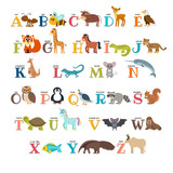 Fototapety Cute zoo alphabet with animals in cartoon style