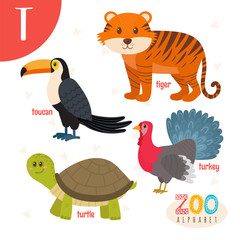 Letter T. Cute animals. Funny cartoon animals in vector. ABC boo