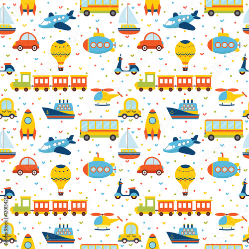 Materiał do szycia Seamless pattern with colorful cartoon transport. Cute backgroun