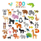 Fototapety Vector collection of Zoo animals. Set of cute cartoon animals