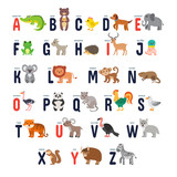 Fototapety Zoo alphabet with cute cartoon animals