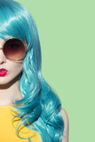 Fototapety Pop art woman wearing blue curly wig and bright yellow dress. Cl