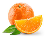 Orange fruit with slice and leaves isolated on white background. - 120158080