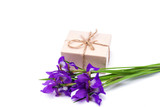 bouquet of purple iris flowers and a gift on a white background