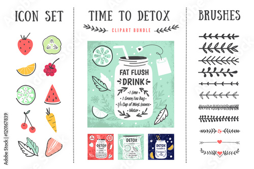 Detox posters and design elements. Template for scrapbooking, wrapping, notebooks, notebook, diary, decals, school accessories. Detox and healthy life. Vector illustrations - 120167839