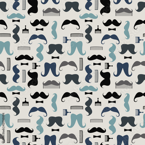 Fototapeta Vector seamless pattern with mustaches, mustache combs and bows