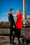 Young male and female fashion model