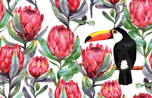 Stoffe zum Nähen Handgezeichnete Aquarell tropischen Musterdesign mit roten protea Blüten und großen schwarzen Tukan Vogel. Bunte exotische Sommer print mit floralen Elementen für die Textil- und Tapeten.