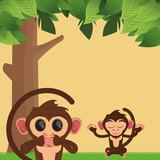 flat design jungle monkeys cartoon and tree vector illustration