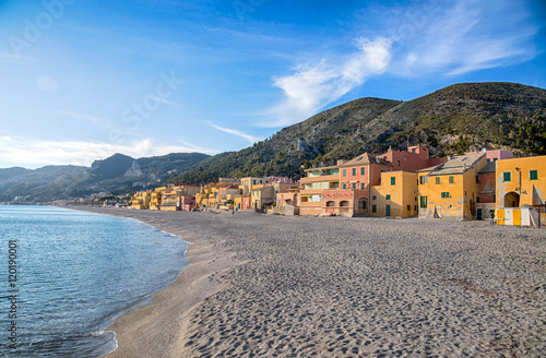 Colorful fisherman's houses on the sand beach lagoon on italian Riviera in Varig Poster