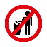 no littering prohibition sign vector illustration design