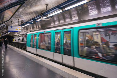The subway train in Paris Poster