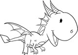 Cute Doodle Dragon Vector Illustration Art