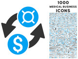 Dollar Currency Exchange vector bicolor icon with 1000 medical business icons. Set style is flat pictograms, blue and gray colors, white background.