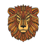 Lion head isolated on white background. Hand drawn vector illustration with ethnic patterns