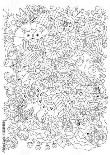 Coloring book for adult and older children. Coloring page with flowers and decorative elements