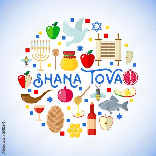 Plakát Rosh Hashanah greeting card.