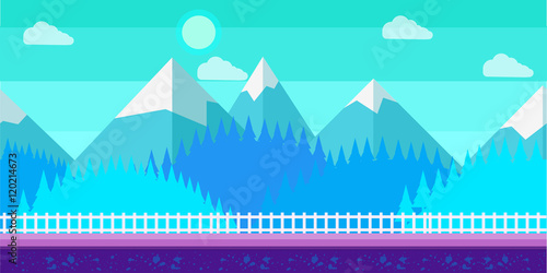 Seamless cartoon winter vector landscape for computer game.