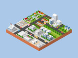 Fototapety 3d isometric three-dimensional city with houses, skyscrapers, buildings and streets with traffic. Top view of urban infrastructure for the creation and design